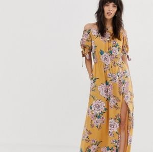 Band Of Gypsies Floral Off Shoulders Maxi Dress